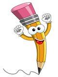 Esultare del fumetto della mascotte della matita isolato Immagini Stock Libere da Diritti