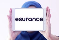 Esurance Insurance company logo. Logo of Esurance company on samsung tablet holded by arab muslim woman. Esurance Insurance Services, Inc. is an American Stock Images