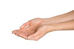 Esvazie as mãos abertas da mulher Isolado Fotografia de Stock