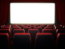 Esvazie assentos vermelhos do cinema e anule a tela do cinema ilustração 3D ilustração do vetor