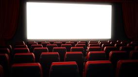 Esvazie assentos vermelhos do cinema e anule a tela do cinema ilustração 3D ilustração stock