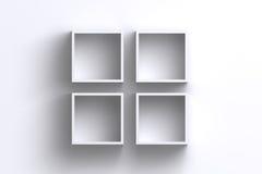 Esvazie caixas da prateleira do quadro do quadrado branco na parede vazia Imagem de Stock