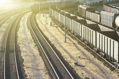 Esvazie carros railway para o transporte da carga de maioria, vista superior Fotografia de Stock