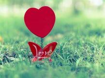 Esvazie das formas do coração da moldura para retrato na grama verde Fotos de Stock Royalty Free