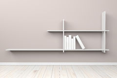 Esvazie a luz interior - prateleira branca branca da sala cinzenta e floo de madeira Fotografia de Stock