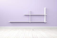 Esvazie a luz interior - prateleira branca branca da sala roxa e fl de madeira Imagem de Stock Royalty Free