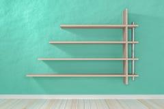 Esvazie a luz interior - prateleira branca branca da sala verde e flo de madeira Fotografia de Stock