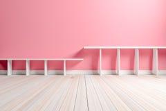 Esvazie a luz interior - sala cor-de-rosa com prateleira branca e o assoalho de madeira Imagem de Stock Royalty Free