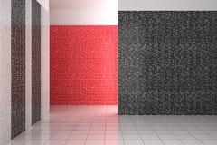 Esvazie o banheiro moderno com as telhas pretas, brancas e vermelhas ilustração do vetor