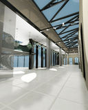 Esvazie o quarto largo com paredes geométricas, sho interior Imagens de Stock