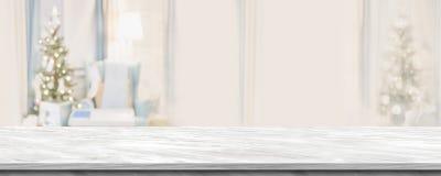 Esvazie o tampo da mesa de mármore cinzento com a decoração morna abstrata da sala de visitas imagem de stock royalty free