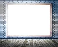 Esvazie a placa branca na parede de tijolo com assoalho de madeira, patt abstrato Imagem de Stock Royalty Free