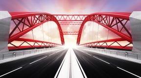 Esvazie a ponte da estrada de dois sentidos no borrão de movimento Imagem de Stock Royalty Free