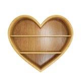 Esvazie a prateleira de madeira do coração isolada no fundo branco Foto de Stock