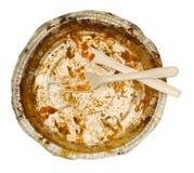 Esvazie removem o recipiente de alimento, faca plástica, forquilha Fotos de Stock