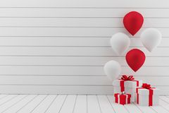 Esvazie a sala branca com balões party na rendição 3D Imagem de Stock Royalty Free