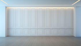Esvazie a sala branca do revestimento da parede e da madeira, design de interiores do vintage Imagem de Stock
