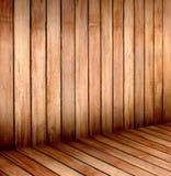 Esvazie a sala de madeira, fundo interior, opinião de perspectiva imagem de stock royalty free