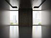 Esvazie a sala moderna com a parede de madeira 3D que rende 2 Fotografia de Stock Royalty Free