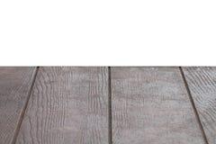 Esvazie a tabela de madeira marrom da textura isloated com fundo branco Fotos de Stock