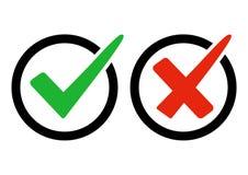 Esverdeie a marca de verificação e a cruz vermelha Direita e erro Ilustração do vetor ilustração royalty free