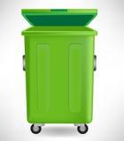 Esverdeie o balde do lixo com tampão Fotografia de Stock