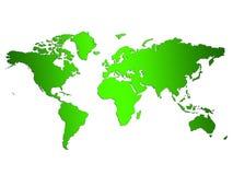 Esverdeie o mapa de mundo Fotos de Stock Royalty Free