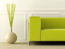 Esverdeie o sofá no quarto branco