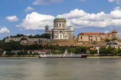 Esztergom basilica. The Esztergom basilica is located near to river Danube, bordeline of Hungary and Slovakia stock image