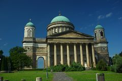 Esztergom Basilica. Monumental construction of Hungarian Classicism, the Basilica, which silently rules the landscape above the winding Danube Stock Image