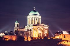 Esztergom basilica in the night, red filter Royalty Free Stock Photography