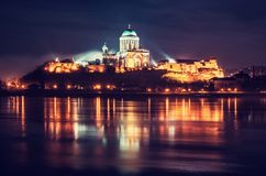 Esztergom basilica in the night, red filter Stock Photography