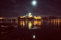 Esztergom basilica in the night, yellow filter Royalty Free Stock Images