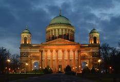 Esztergom, Basiliek, Hongarije in de schijnwerper Stock Afbeelding