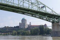 Esztergom and Bridge stock photo