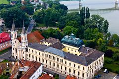 Esztergom Castle and Church stock images