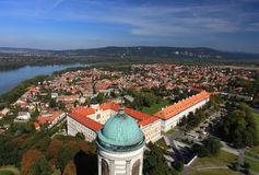 Esztergom city Hungary, from above with river Danube. Panorama image Royalty Free Stock Images