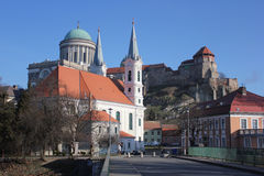 Esztergom cityscape, Hungary. Esztergom cityscape with parish church and the castle with Basilica in the background, Hungary Stock Images