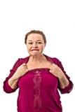 Età di pensionamento della donna che mostra le emozioni differenti su un fondo bianco in Russia Immagini Stock Libere da Diritti