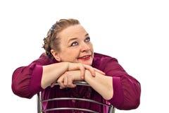 Età di pensionamento della donna che mostra le emozioni differenti su un fondo bianco in Russia Fotografie Stock