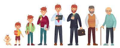 Età differente maschio Età del neonato, dell'adolescente e dello studente, uomo adulto ed anziano anziano Vettore delle generazio illustrazione vettoriale