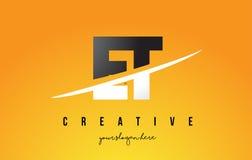 ET σύγχρονο σχέδιο λογότυπων επιστολών Ε Τ με το κίτρινα υπόβαθρο και Swoo Στοκ φωτογραφία με δικαίωμα ελεύθερης χρήσης