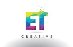 ET вектор дизайна треугольников Origami письма e t красочный Стоковая Фотография RF