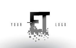 ET логотип письма пиксела e t с квадратами разрушенными цифров черными Стоковые Фотографии RF