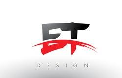 ET письма логотипа щетки e t с красным и черным набегающим краем щетки Swoosh Стоковые Изображения
