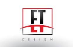 ET письма логотипа e t с красными и черными цветами и Swoosh Стоковые Фото