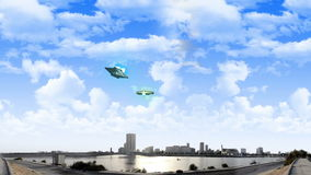 ET aircraft and UFO at daylight. Jeddah waterfront with ET aircraft and UFO at daylight stock footage