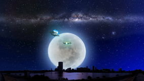 ET aircraft and UFO with Milky way galaxy. Milky way galaxy with ET aircraft and UFO with full moon night stock footage