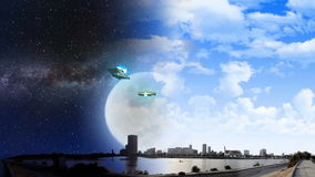 ET aircraft and UFO with Milky way galaxy night and daylight stock footage