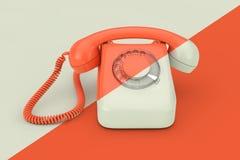 Et beige téléphone rotatoire dénommé par cru orange rendu 3d illustration libre de droits